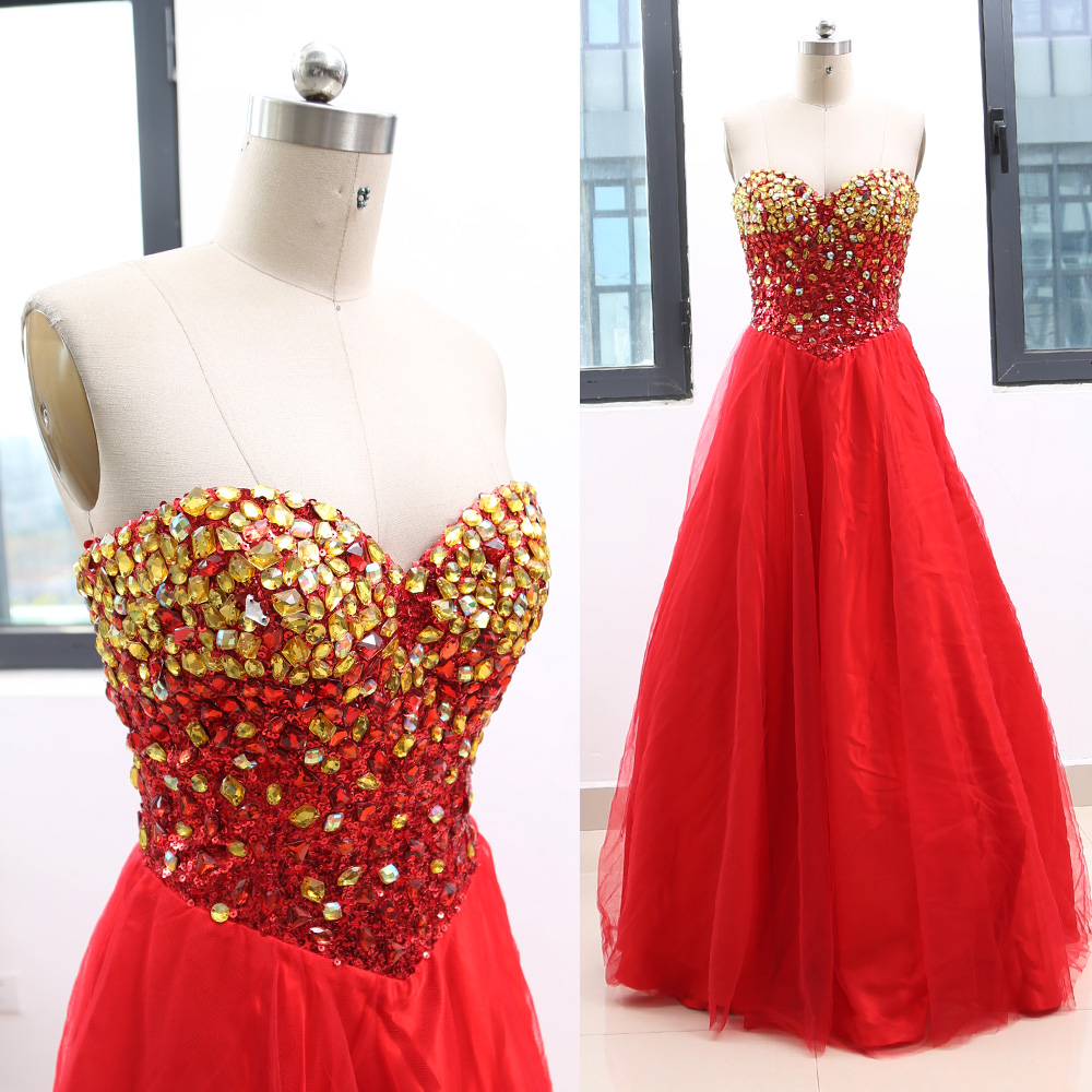f9531539886d Detail Feedback Questions about MACloth Red Ball Gown Strapless Floor  Length Long Crystal Tulle Prom Dresses Dress M 264704 Clearance on  Aliexpress.com ...