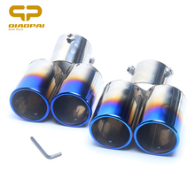 Universal Modified Car Exhaust Muffler Tail Stainless Steel Pipe Chrome Trim Exhaust Rear Tail Muffler Tip Turbo Sound Half Blue universal car exhaust muffler tip high quality stainless steel pipe chrome trim modified car tail pipe exhaust system new