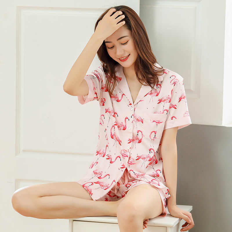 610d73e5489 ... Sexy flamingo Satin ice silk short pajama sets women summer Shorts  nightgown Sleepwear women pyjamas mujer ...