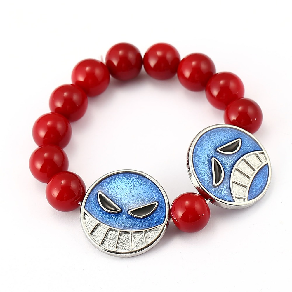 MS ONE PIECE Bracelet Ace Red Bead Bracelet Men Anime Charm Bracelets Bangles Women pulseira masculina chaveiro