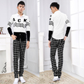 2016 High Quality Casual Skinny Men's Pants Plaid Slim Fit Male Black/Bule New Fashion Men Business Trousers free shipping