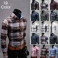 Весна шотландка мужские рубашки свободного покроя приталенный Fit длинная - sleeves сетка социальной Camisa Masculina для человека M-3XL