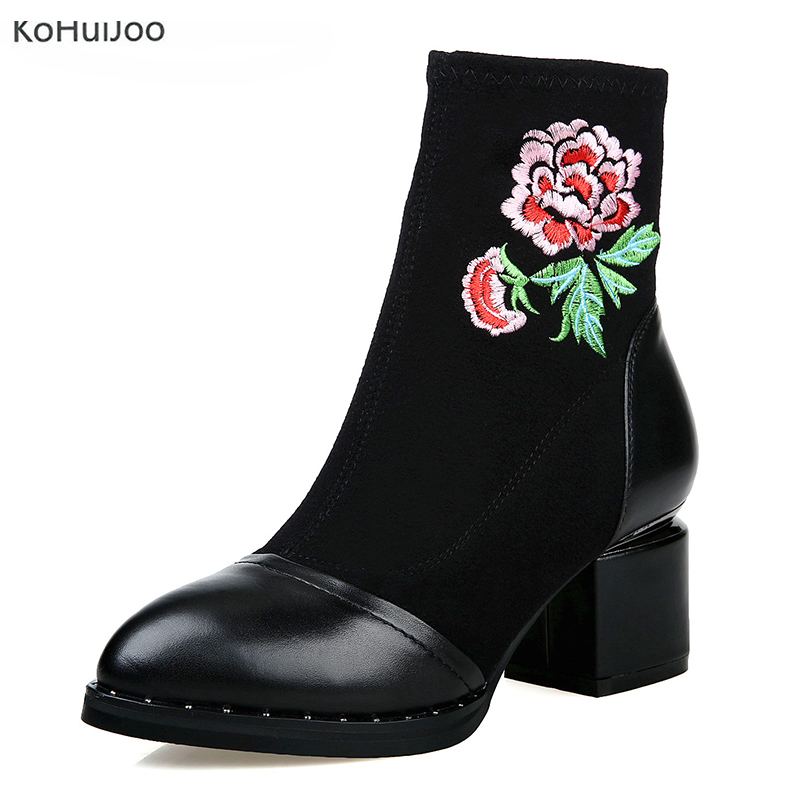 KoHuiJoo New Arrival Handmade Embroidery Genuine Leather Shoes Women Black Ankle Boots Streth Fabric Winter Boots Free Shipping