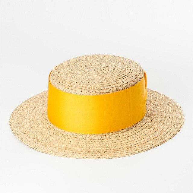 b382f31fdce Raffia Straw Boater Hat Sun Hat Women 2018 Fashion Summer Beach Hats for  LadiesTop Quality Hats 681006