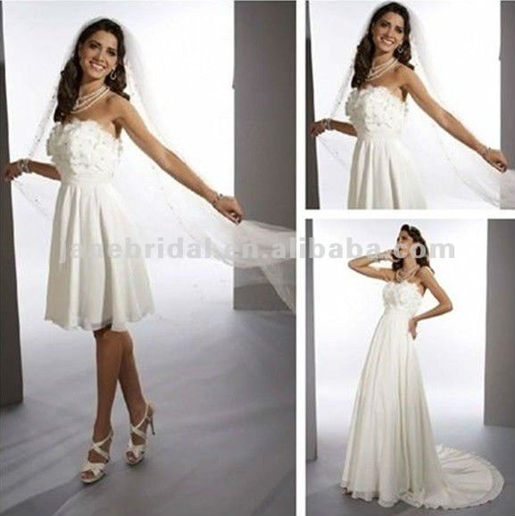 A Line Flower Chiffon Wedding Dress Detachable Skirt In
