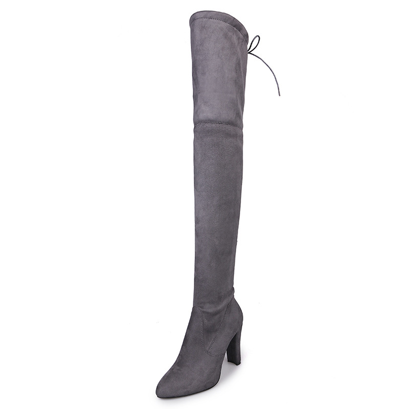 Whoholl Faux Suede Slim Boots Sexy Over The Knee High Women Snow Boots Women's Fashion Winter Thigh High Boots Shoes Woman ppnu woman winter nubuck genuine leather over the knee snow boots women fashion womens suede thigh high boots ladies shoes flats