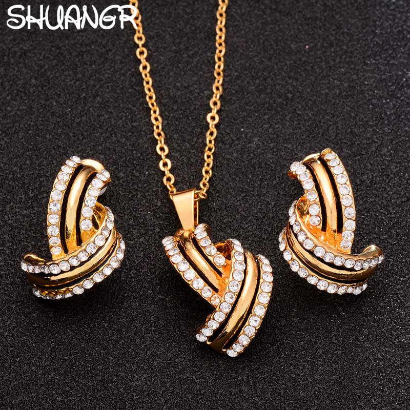 SHUANGR Classic Imitation Pearl necklace Gold-color jewelry set for women Clear Crystal Elegant Party Gift Fashion Costume