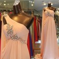 Hot 2017 A-line One-shoulder Floor Length Peach Yellow Pleated Crystals Long Bridesmaid Dresses Wedding Party Dresses