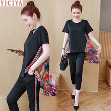 Plus Size 2 Piece Set Women Pant and Top 3xl 4xl 5xl 2019 Summer Black Outfit Tracksuit Sportswear Fitness Co-ord Set Clothing