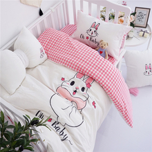 Cute Cartoon Rabbit Embroidery Comfortable Washed Cotton Girl Bedding Set White Pink Duvet Cover Bed Sheet Linen Pillowcases