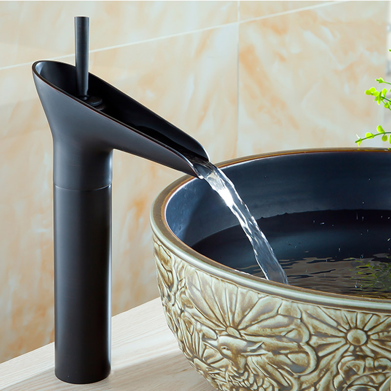 Wholesale and Retail Bathroom Waterfall Basin Faucet Single Lever Vessel Sink Mixer Tap with Hot Cold