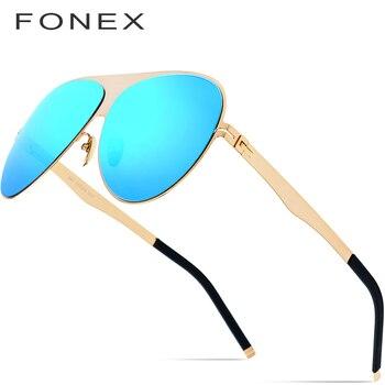 ce7dadff8b Gafas de sol polarizadas de aviación de FONEX para hombre 2019 diseñador de  marca de moda de gran tamaño sin tornillos gafas de conducción para hombre  856