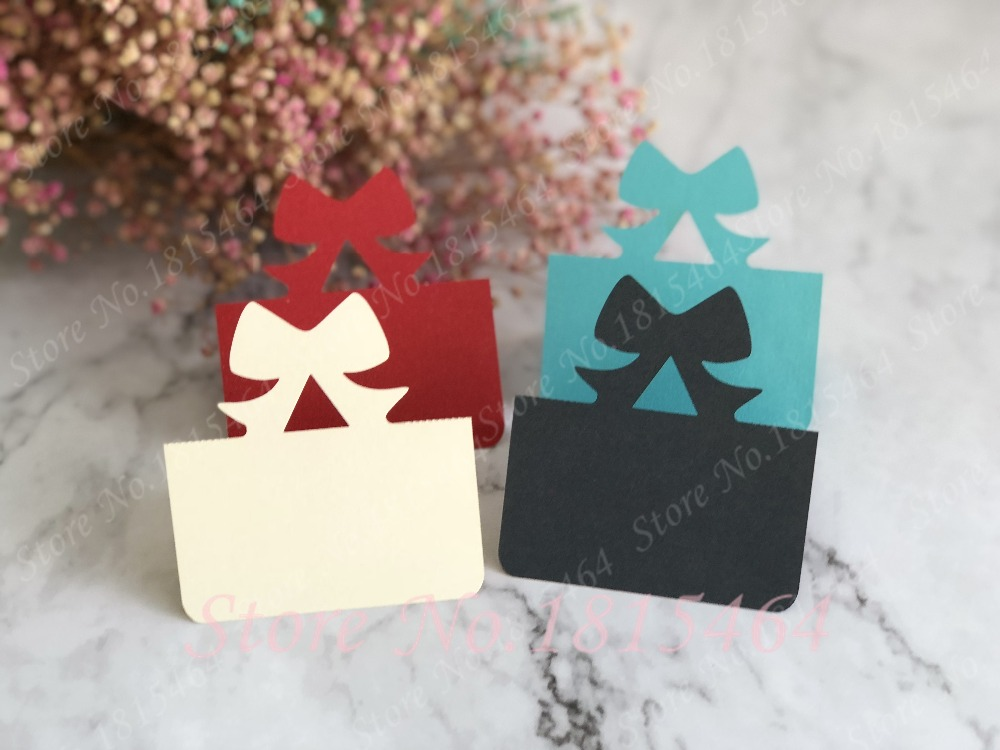 Us 11 17 14 Off 50pcs Bow Tie Place Cards Wedding Party Table Name Activity Cards Invitation Card Wedding Banquet Party Decoration Supplies In Cards