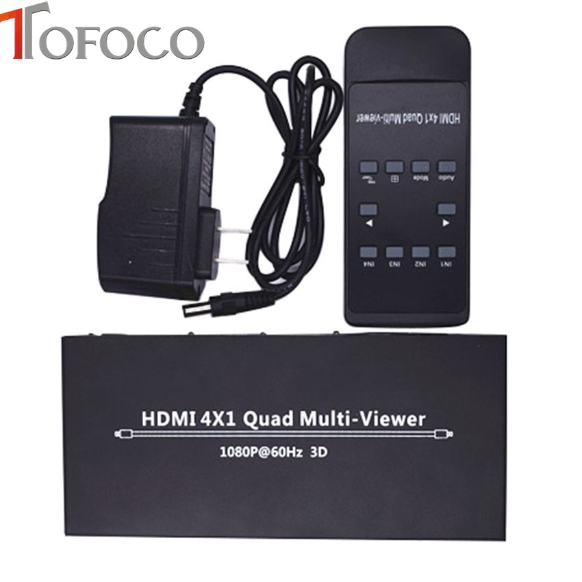 TOFOCO HDMI Splitter Switcher switch 4x1 Quad Multi-viewer For HDTV DVD PS3 Xbox full 1080p hdmi 4x1 multi viewer with hdmi switcher perfect quad screen real time drop shipping 1108
