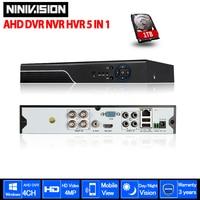 NINIVISION 4MP AHD DVR NVR CCTV 4Ch 8Ch IP 1080P 3MP 5MP Hybrid Security DVR Recorder
