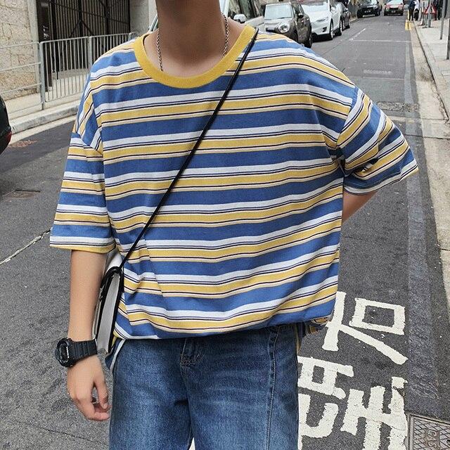 Hàn quốc phiên bản của lỏng thời trang T-Shirt với vòng cổ áo sọc và tay áo ngắn