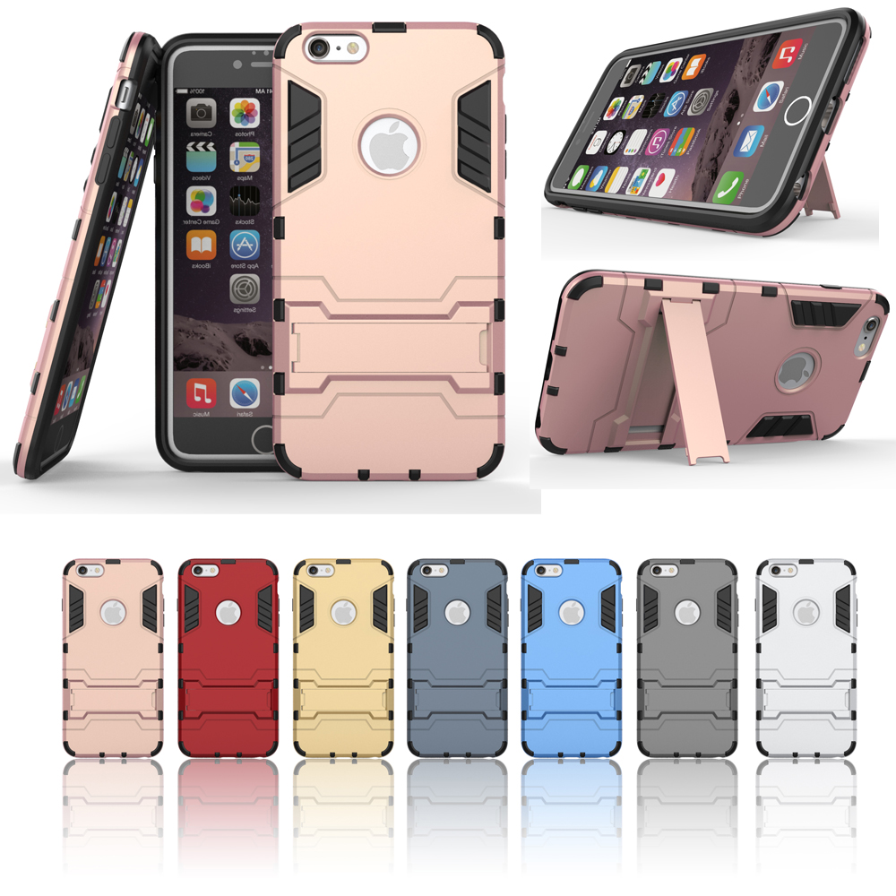 For iphone 6plus 6splus PC Silicone Armored robot Triple Shockproof Rugged Hybrid Phone Case & Screen protection Cover