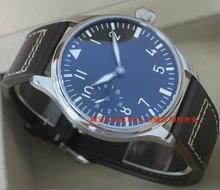 44mm PARNIS black dial Asian 6497/3600 Gooseneck Mechanical Hand Wind movement Luminous men's watch Mechanical watches 148