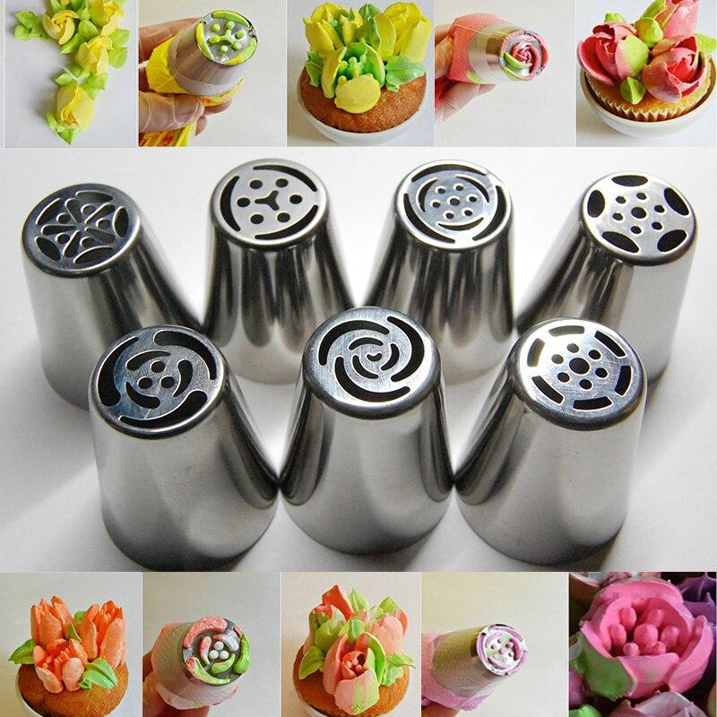 7 UNIDS Ruso Tulipán Consejos de Decoración Icing Piping Pastelería Boquillas de
