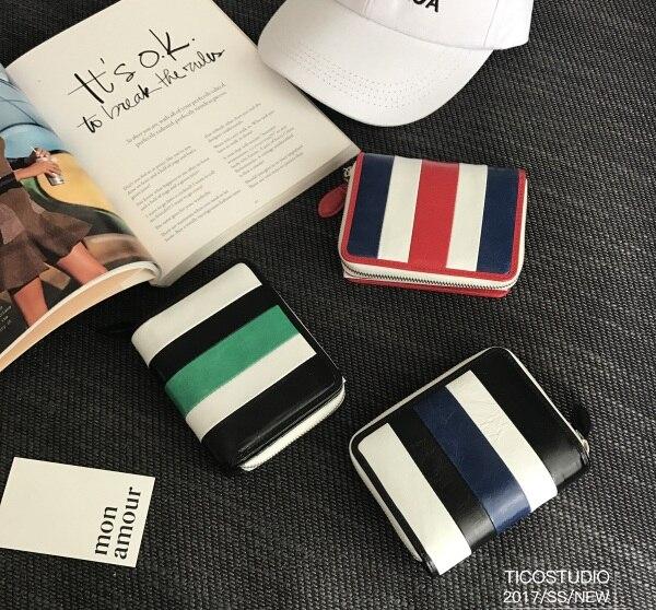 Cuir Porte Zip Court Carte Été vert Titulaire Véritable Mode Bleu Rayé Nouveau La rouge 2017 De Tôlé Portefeuille monnaie En qwCzA