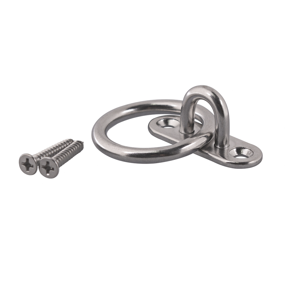 304 Stainless Steel M6 Oval Base Sail Shade Pad Eye Plate U-shaped Hook Ring Welded With Self-tapping Screws