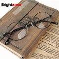 Frete grátis retro full-aro óculos de john lennon oval dobradiça de mola pura titanium prescrição óculos de armação oculos de grau femininos