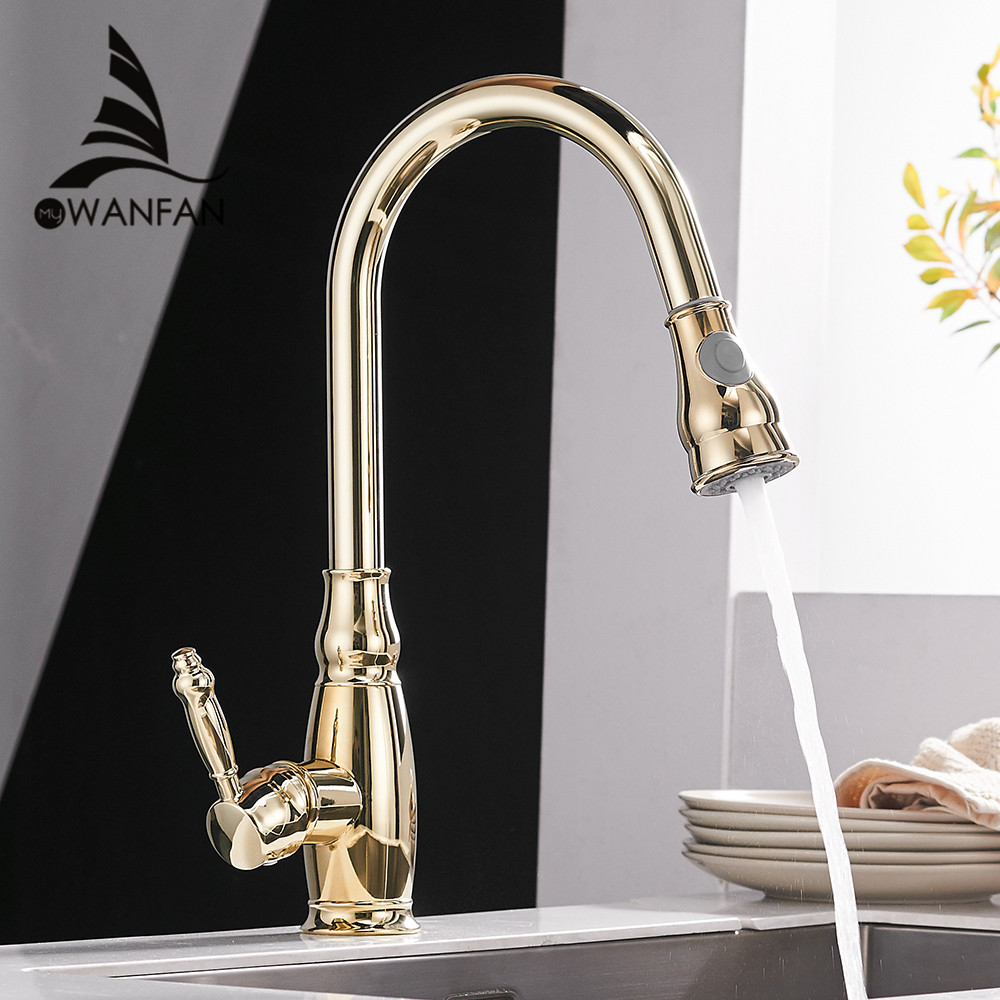 Kitchen Mixer Gold Pull Out Kitchen Faucet Deck Mount Kitchen Sink Faucet Mixer Cold Hot Water Torneira Cozinha Rotate WF-4119