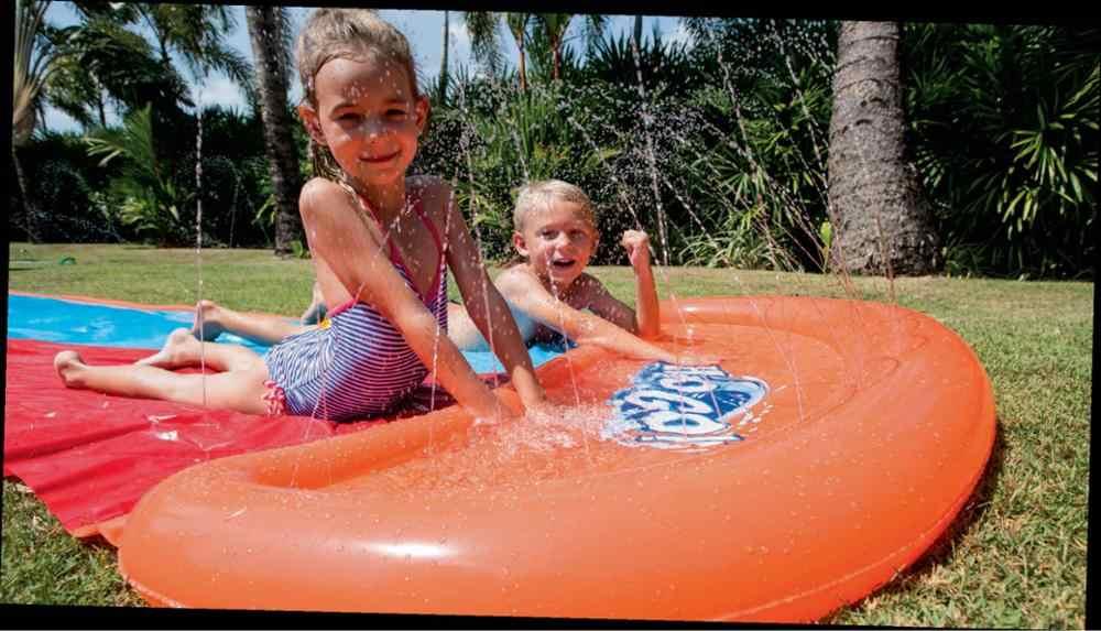 Tobogán inflable de agua de carreras doble surfing Rider N Slide Blast a través de la piscina de salpicaduras niños Parque trasero jugar diversión salpicadero al aire libre slip