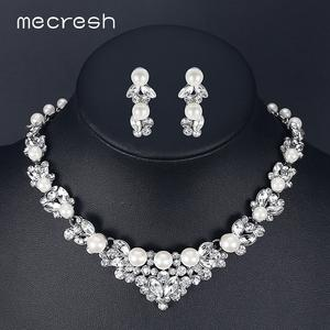 Mecresh Jewelry-Sets Necklaces Elegant Crystal Pearl-Bridal Leaf Wedding TL280 Simulated