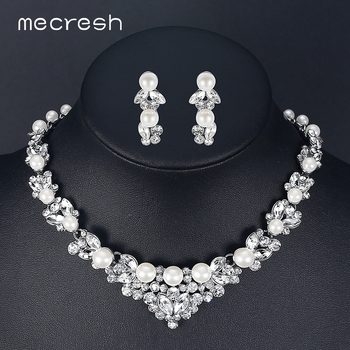 Mecresh Elegant Simulated Pearl Bridal Jewelry Sets Silver Color Leaf Crystal Necklaces