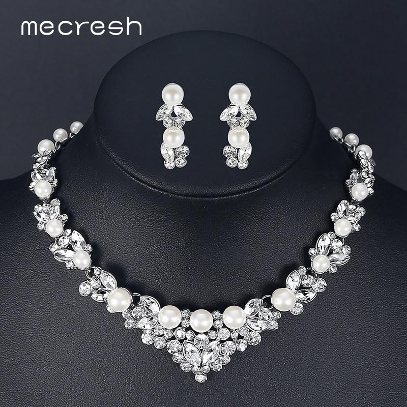 Mecresh elegante perla simulada de conjuntos de joyas de plata de Color hoja de cristal collares pendientes conjuntos de joyería de la boda de TL280