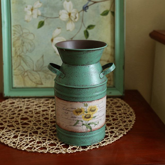 Yellow Green Blue Vintage Style Vases American Country Home Decor