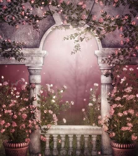 Vintage Pavilion Pink Flowers Fantasy Scenic 5X7ft Backgrounds for Photo Studio Vinyl Wedding Photography Backdrops виктория угрюмова серия азбука fantasy русская fantasy комплект из 7 книг