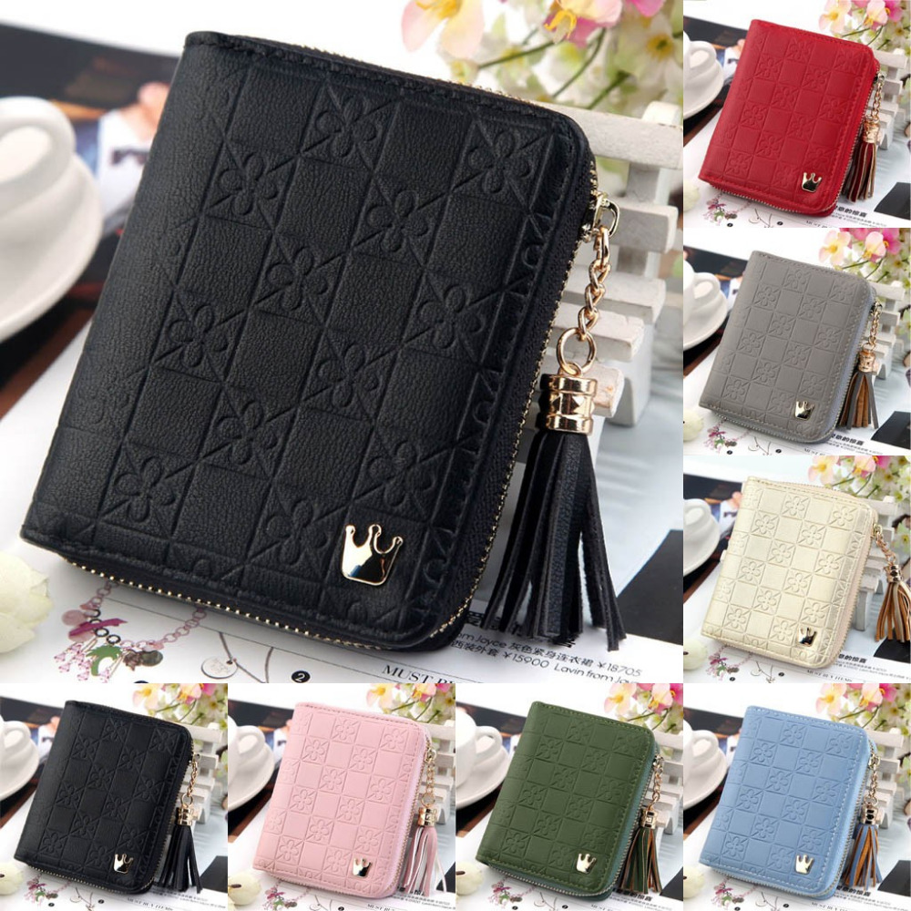 In Workmanship Hospitable Womens Wallet Crown Womens Zipper Tassel Wallet Short Card Package Printing Fashion Soft Wallet Sweet Lady Bag Dropship Y425 Exquisite