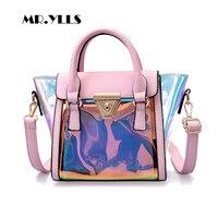 2018 Women Handbags Laser Tote Transparent Jelly Bags Women Shoulder Bags Fashion Bucket Females Lady Compasite Bag Solid Bolsa
