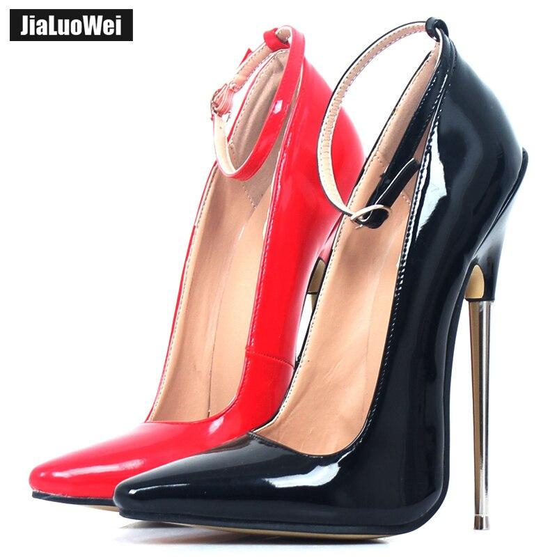 18cm 7 Stiletto Fetish Sharp toe Mary Janes Ankle Wrap high heel pumps spike metal high heel BONDAGE BDSM latex high heels