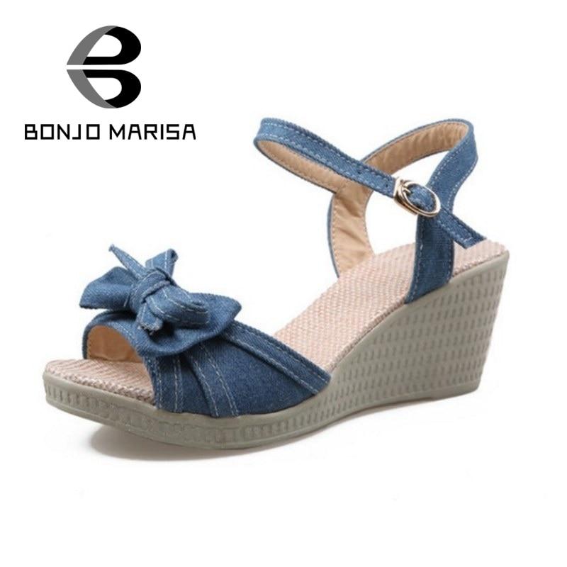 BONJOMARISA New Sweet Bowtie Wedges Heels Women Sandals Open Toe Platform Ankle Strap Leisure Dating Shoes