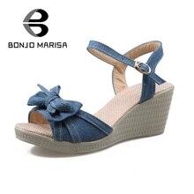 Bonjomarisa neue süße bowtie keile heels frauen sandalen offene spitze plattform knöchelriemen freizeit dating schuhe frau