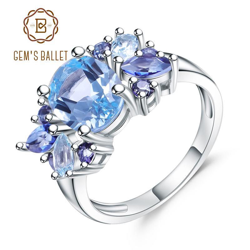 Gem's Ballet 3.47Ct Natural Sky Blue Topaz Mystic Quartz Gemstone Ring 925 Sterling Silver Mona Lisa Rings For Women Wedding