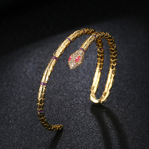 Image 2 - Fashion Jewelry Snake Cuff Bracelets & Bangles Opening Gold Color Bracelets For Women Punk Jewelry ZK40