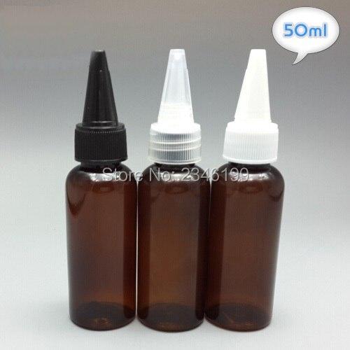 50 мл коричневый Цвет Пластик бутылка с острым Кепки, лекарственные жидкость упаковка бутылка, косметический тонер контейнера, 50 шт./лот