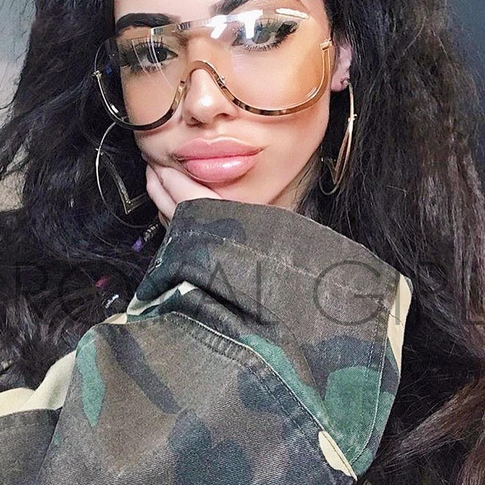 ROYAL GIRL Retro inspirált női napszemüveg túlméretes pajzs fém félkeret szemüvegkeret ss622