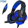 YTOM PC780 Deep Bass Juego Rodeado Over-Ear Auriculares Estéreo Gaming Headset Diadema Auricular con la Luz para Pc Gamer