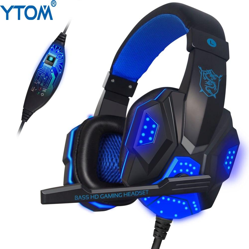 YTOM PC780 bajo profundo juego de auriculares estéreo rodeado sobre la oreja auriculares para juegos diadema del auricular con luz para computadora PC Gamer