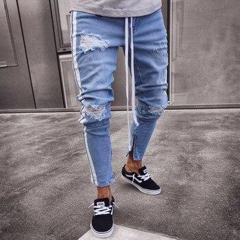 f8be9728d0 De Jeans rasgados para hombres Hip Hop Super Skinny azul de los hombres  pantalones vaqueros Pantalón elástico diseñador de moda de la marca Slim Fit