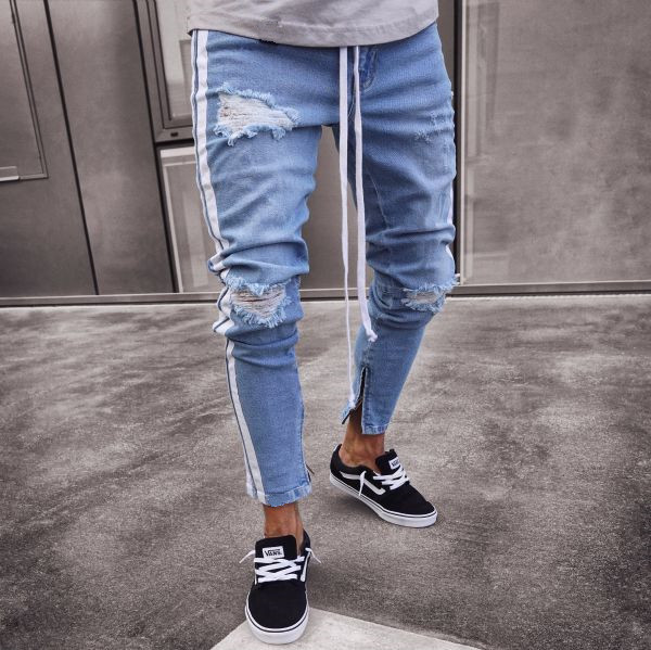 Stripe Ripped Jeans For Men Hip Hop Super Skinny Blue Men Jeans Elastic Pant Designer Brand Fashion Slim Fit