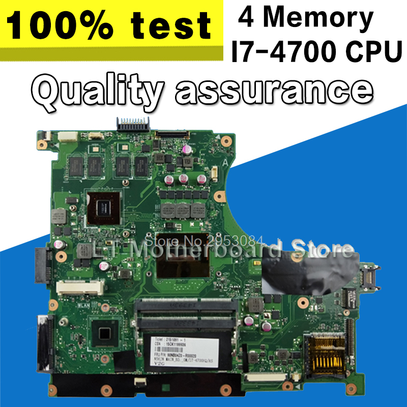 For ASUS N56JN 4 Memory I7-4700 REV2.0 Laptop Motherboard with Graphics Card System Board Main Board Logic Board Tested Well original for asus vx6s rev2 0 laptop motherboard system board main board card logic board tested well free shipping