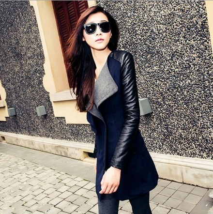 2016High Quality Autumn Winter New In Black Navy Blue Red Contrast PU Leather Sleeve Zipper Woolen Coat For Woman Size S- XL