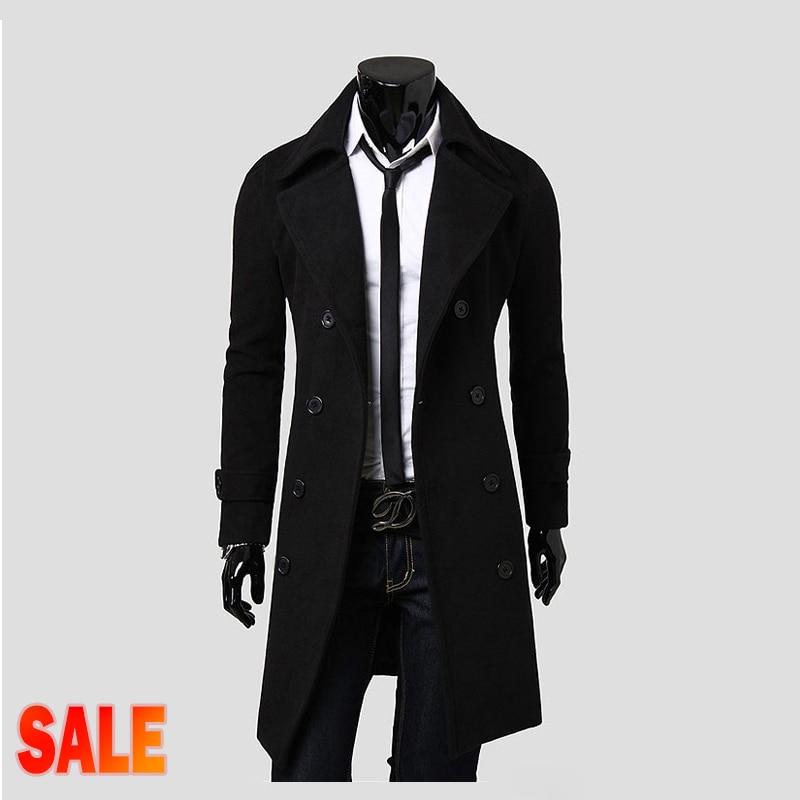 black mens trench coat slim mens long coat men overcoat double breasted trench coat men manteau. Black Bedroom Furniture Sets. Home Design Ideas