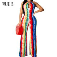 WUHE Retro Sleeveless Open Back Halter Jumpsuits Summer Sexy Hollow Out Wide Leg Playsuits Femme Casual Party Dyeing Bodysuits